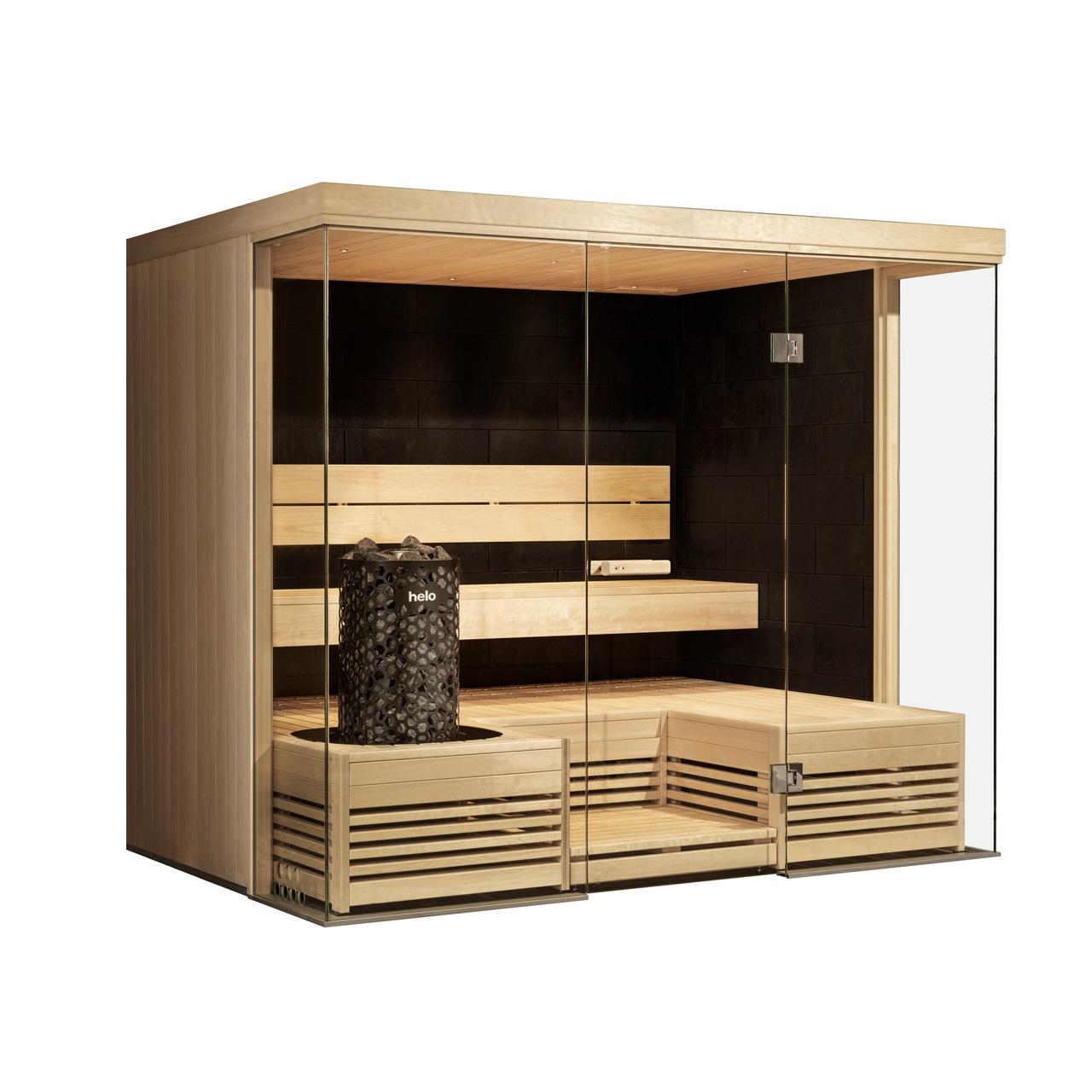 Harmony Glass Corner with Taika panel and Himalaya heater