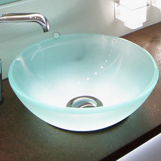 Il bacino di vetro è realizzato in vetro temperato, con il rivestimento esterno di vetro satinato. Questo rende la luce diffusa in modo uniforme.Il diametro del bacino di vetro è di Ø 380 mm. Le sorgenti luminose sono a led. La potenza massima è di 3,1 W. Il kit completo include un alimentatore IP20.